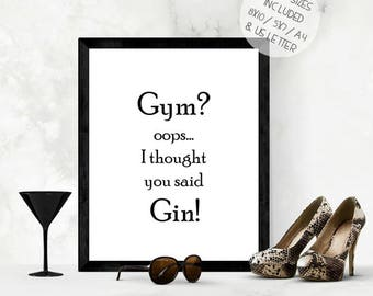 Funny gin wall art print, kitchen wall art, gin kitchen print, printable wall art, gin lover gift