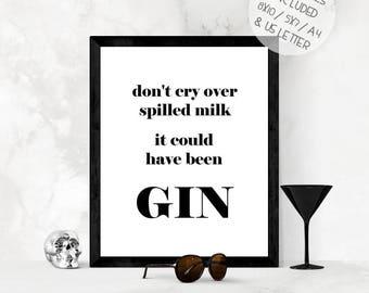 Funny gin wall art print, printable wall art, kitchen wall art, gin kitchen print, gin lover gift