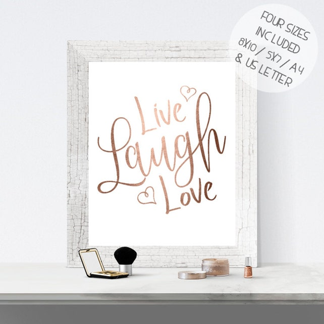 Rose gold foil print printable wall art LIVE LAUGH LOVE | Etsy