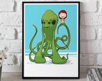 Monster Octopus Illustration, Kids Best Friend art print, Kids room art, Cute poster, Girl print, Wall art print nursery