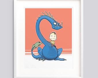 "Art Print - ""A Boy and His Monster"" v1 • Poster, wall art giclée print illustration"