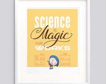 "Art Print - ""Magic That Works"" — Typographic poster, kids room wall art giclée print nursery — v2"