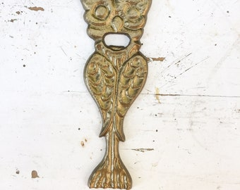 Vintage Anthropologie Large Ornate Owl Themed Bottle Opener