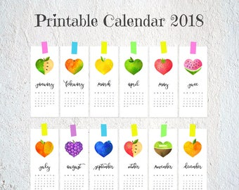 Monthly calendar 2018, Printable calendar pages, Digital calendar download, Funny calendar, Kitchen fruit heart calendar, Cute desk calendar