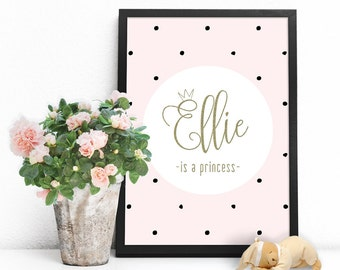 Personalized baby name wall art printable download, Personalized newborn baby gifts, Baby girl name sign nursery print, Baby name wall decor