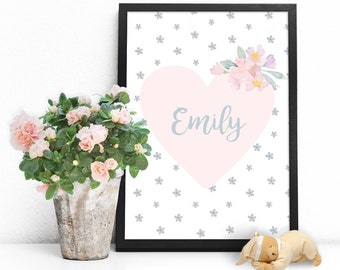 Personalized baby gifts for girls, Personalized nursery name sign, Custom baby name wall art PRINTABLE poster, Personalized nursery wall art