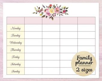 Printable Blank Calendar Planner Weekly Schedule Template Family Download PDF Funny