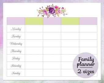 Family calendar planner 2018 Printable family wall calendar | Etsy