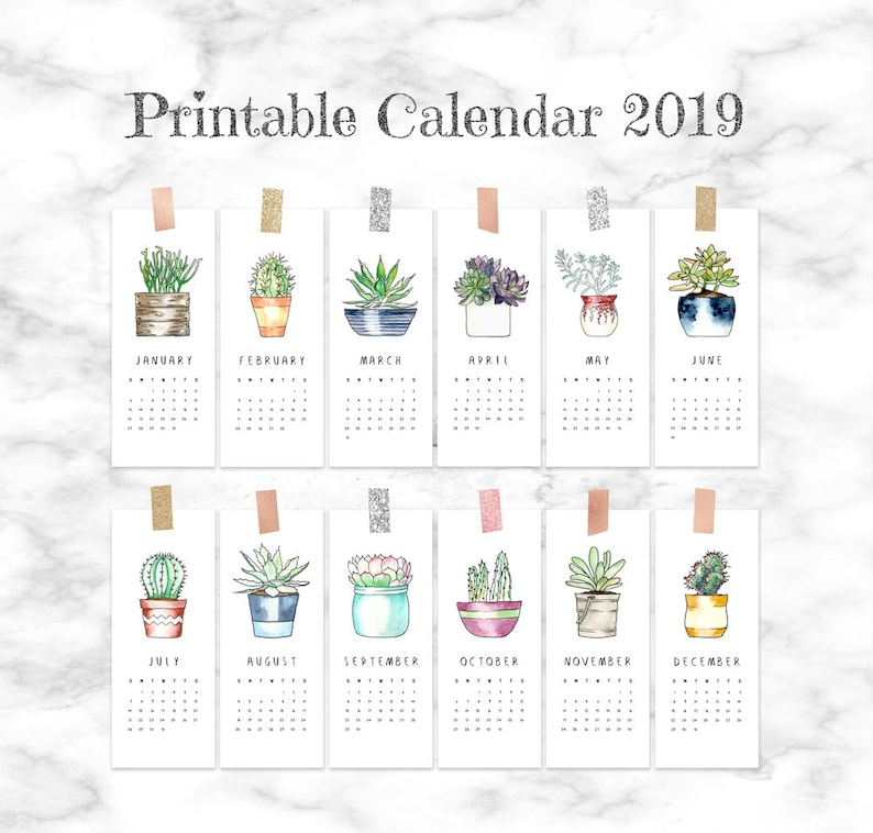 photo about Cute Monthly Calendar Printable named Printable calendar internet pages 2019, Low regular calendar 2019 printable, Placing cactus calendar, Succulent calender 2019, Lovely workplace calendar