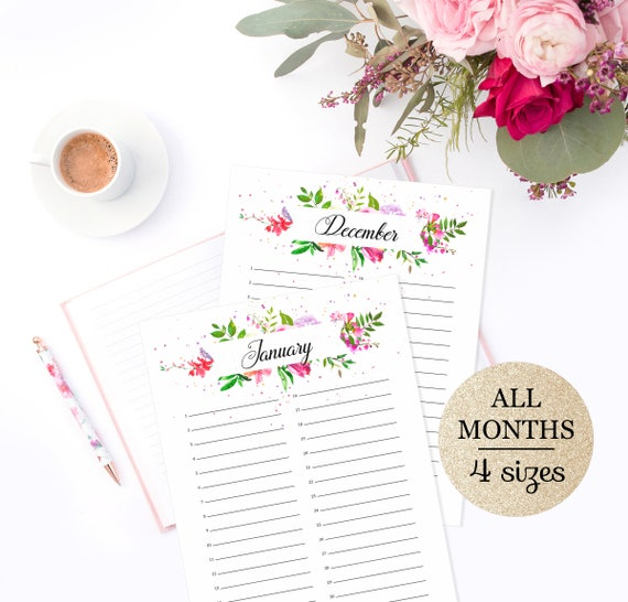 Perpetual Calendar Printable Perpetual Birthday Calendar Etsy