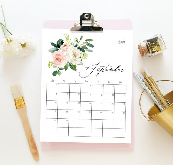 photograph regarding Cute Monthly Calendar Printable called Adorable calendar 2019, Regular calendar printable, Table calendar planner, Downloadable calendar 2019, Blush greenery floral amusing calendar 2019