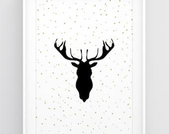 Deer head decor, Deer art, Christmas poster, Deer antler art, Deer silhouette, Christmas deer decoration, Big wall art, Poster download