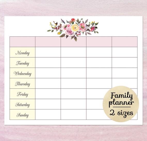 Printable Blank Calendar Planner Blank Weekly Schedule Etsy