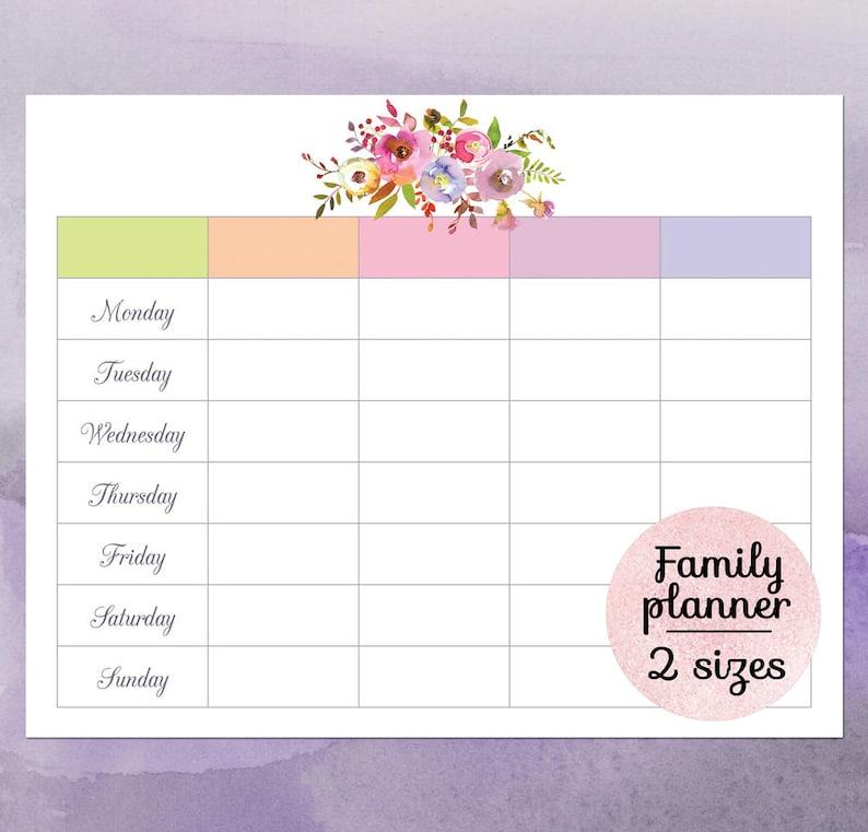 graphic regarding Family Planner Calendar named Relatives calendar planner 2018, Printable relatives wall calendar, Blank weekly calendar printable, Lovable floral weekly household program template