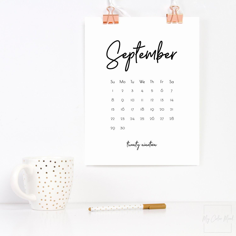 December 2019 Modern Typography Calendar Office calendar 2019 Calendar download Printable calender | Etsy