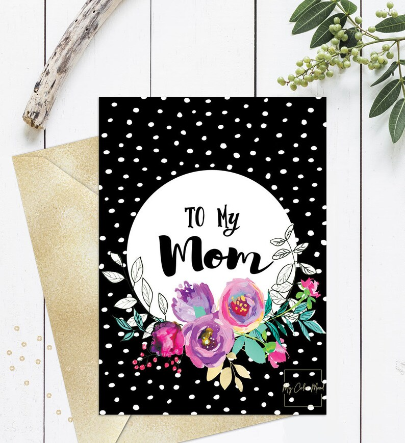 Birthday Card For Mom Mothers Printable Happy Unique Cute Funny Day Cards Black Pink Floral Dots