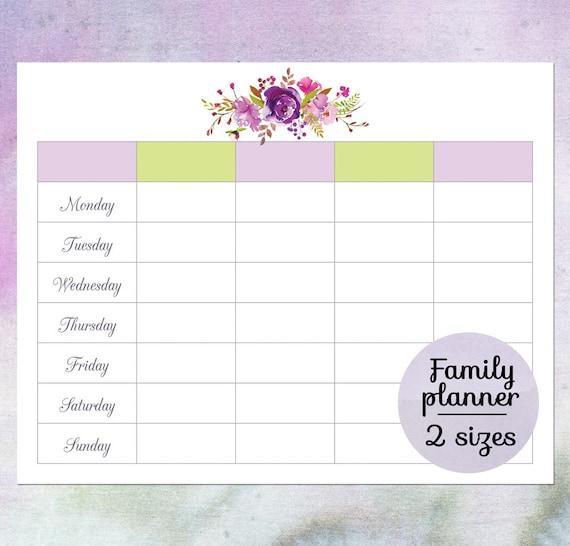 Family Planner Calendar Printable Blank Weekly