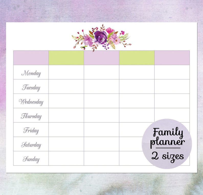graphic about Family Planner Calendar known as Spouse and children planner calendar, Printable blank weekly calendar, Weekly routine, Weekly planner template, Huge wall calendar, Downloadable PDF