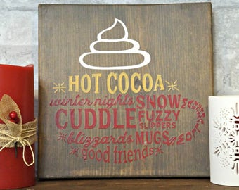 Hot Cocoa Word Mug | Wood Signs | Rustic Sign | Christmas Sign | Home Decor | Winter Decor | Holiday Decor | Kitchen Decor | Holiday Sign