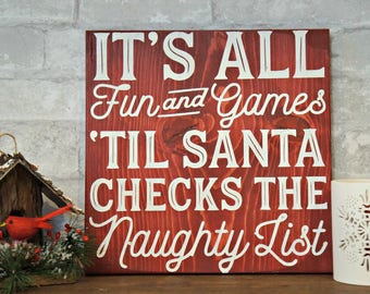 Naughty List | Wood Signs | Wooden Sign | Rustic Sign | Christmas Sign | Home Decor | Winter Decor | Holiday Decor | Holiday Sign