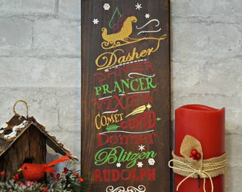 Reindeer Names | Wood Signs | Wooden Sign | Rustic Sign | Christmas Sign | Home Decor | Winter Decor | Holiday Decor | Holiday Sign