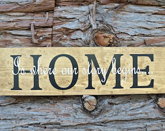 HOME Is where our story begins | Wood Sign | Housewarming Gift | Home Decor | Wall Decor | Wedding Gift | Room Decor | Mantel Decor