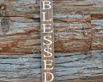 BLESSED Sign   Wood Signs   Home Decor   Blessed Wood Sign   Entryway Sign   Rustic Decor   Farmhouse Sign