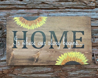 HOME Is where our story begins | Wood Signs | Farmhouse Sign | Housewarming Gift | Home Decor | Wall Decor | Wedding Gift | Mantel Decor