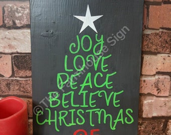 Joy Christmas Tree   Wood Signs   Wooden Sign   Rustic Sign   Christmas Sign   Home Decor   Winter Decor   Holiday Decor   Holiday Sign