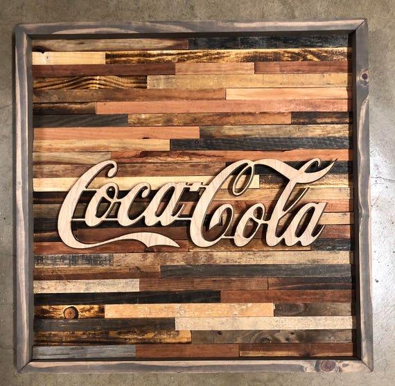 Rustic Coca Cola wall art   Etsy