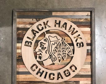 Rustic Chicago Blackhawks wall art