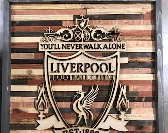 Rustic Liverpool soccer wall art