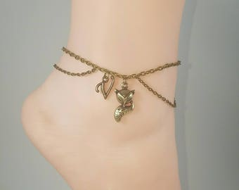 Vixen Hotwife Anklet, Initial Jewelry, Personalized Jewelry, Sexy Anklets, Swinger Jewelry, Kinky, Double Bronze Series