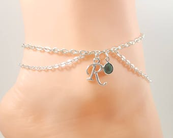Birthstone Personalized Initial Anklet, Swarovski Crystals, Birthday Jewelry, Kinky Lifestyle Jewelry
