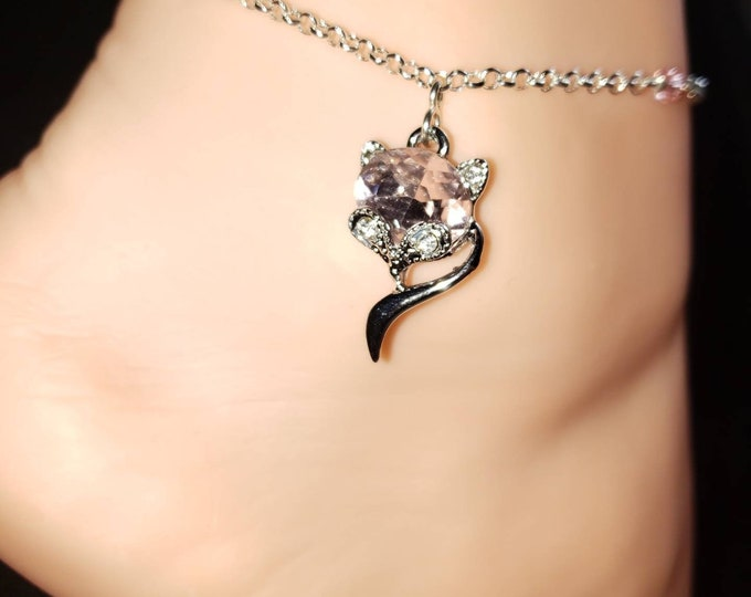 NEW Holiday VIXEN Hotwife Anklet, Silver Plated Rose Crystal Vixen on a Sterling Silver Filled Rolo Chain