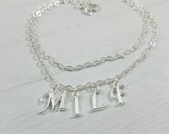 MILF/ Hotwife Anklet Jewelry Swinger Jewelry Silver Plated Double Chain