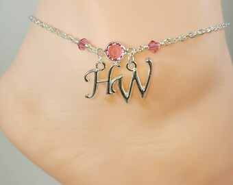 Hotwife Anklet, Birthstone Jewelry, Initial Jewelry, Personalized Jewelry, Genuine Swarovski Crystals, Sexy Anklets, Swinger Jewelry, Kinky