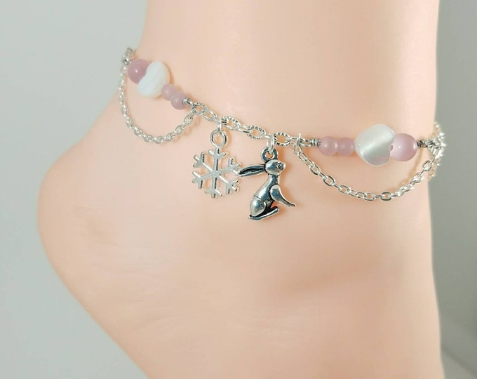 Snow Bunny Anklet, BBC, Queen of Spades Initial Jewelry, Personalized Jewelry, Sexy Anklets, Swinger Jewelry, Kinky,