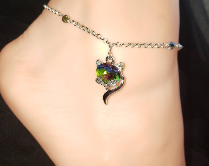 NEW Holiday VIXEN Hotwife Anklet, Silver Plated Aurora Boralis Crystal Vixen on a Sterling Silver Filled Rolo Chain