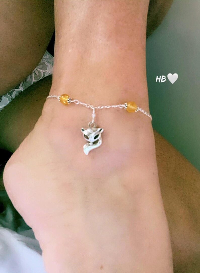 Sterling Silver Vixen Hotwife Anklet Genuine Citrine Beads