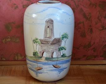 Big Midcentury vase, motif-vase, hand painted, Italy, Italian landscape, 50s, made in Germany