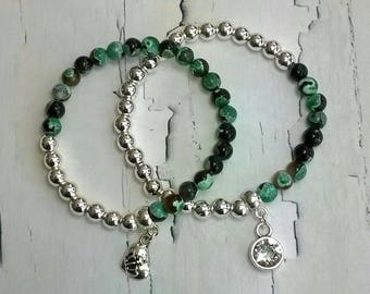 Bracelet set hematite agate Boho style Silver Green