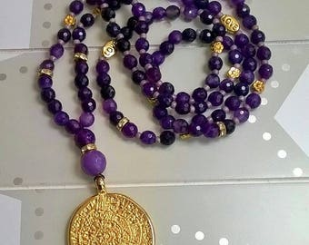 Long necklace with amulet Amethyst Ultra Violet Gold Boho style