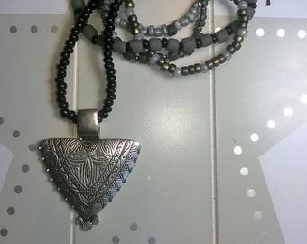 Long necklace with pendant black grey glass beads