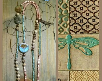 Long chain Libellle jasper Seedbeads bohemian glass beads Boho Style