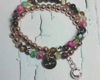 Set Hematite rose gold agate boho style bracelet