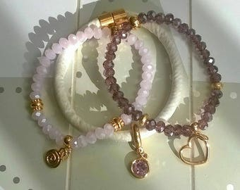 Bracelet set silk ribbon glass beads rose/Gold