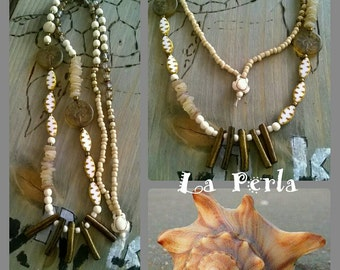 Long chain of ⭐ coral of ⭐ shell of ⭐ glass beads
