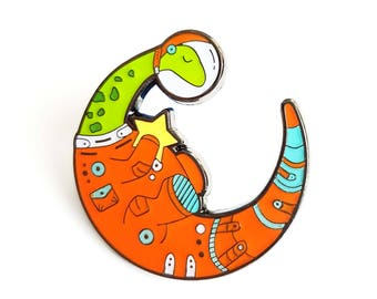 Dinosaur enamel pin, Space pin, Space lover, Space animal, Space helmet pin, Dino lapel pin, Space pin, Dino lover, Space suit