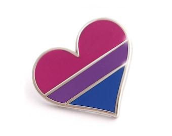 Bisexual pride pin, gay lapel pin, bisexual flag pin, heart enamel pin, gay decoration, bi community
